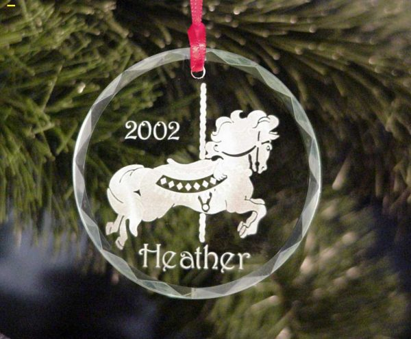 Personalized Carousel Horse Theme Christmas Tree Ornament