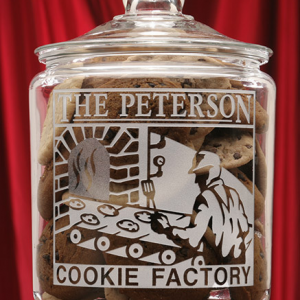 Cookie Factory Theme Glass Cookie Jar