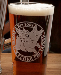 Flying Pig Pub Pint Glass