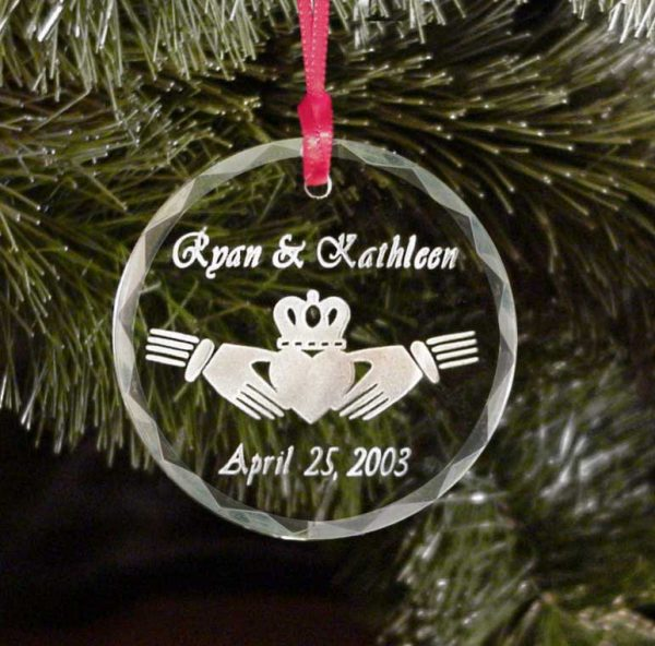 Personalized Irish Claddagh Christmas Tree Ornament