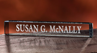 Personalized Etched Glass Nameplate