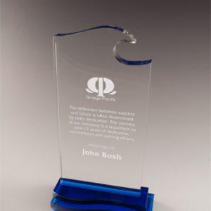 Personalized Blue Wave Glass Award
