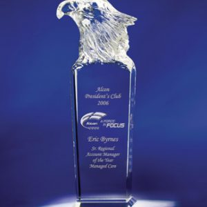Personalized Eagle Head Etched Glass Award
