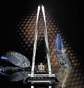 Personalized Etched Crystal Obelisk Award