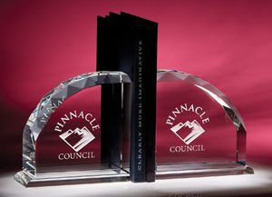 Personalized Etched Glass Bookend Award