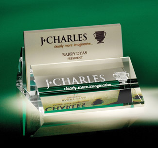 Personalized Etched Glass Card Holder