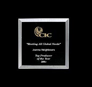 Personalized Etched Glass Square Bevel Award