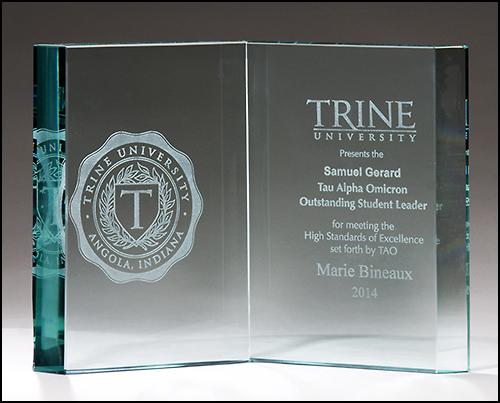 Personalized Glass Book Award