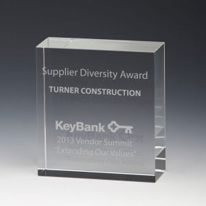 Personalized Square Etched Glass Award
