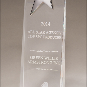 Personalized Upright Crystal Star Award