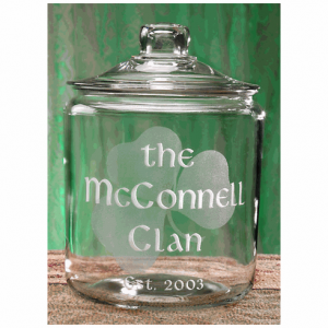 Shamrock Etched Glass Cookie Jar
