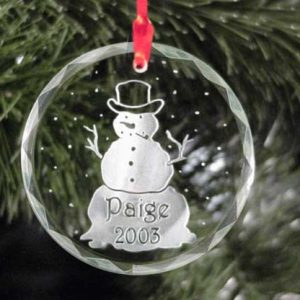 Personalized Snowman Glass Christmas Ornament