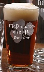 Irish Shamrock Pint Glass